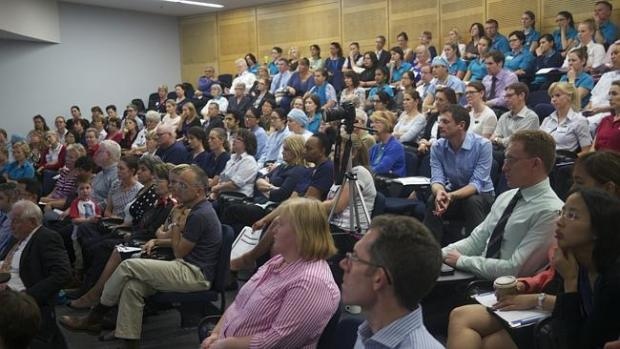 The Kolling Institute auditorium was full for a public meeting on the sale or long term l