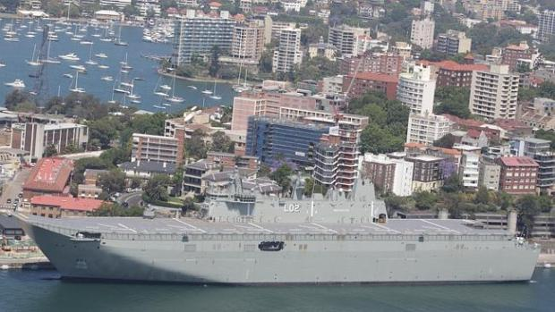 Towering presence ... The Royal Australian Navy's biggest ever warship, the Landing Helic