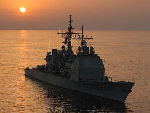 Under pressure ... The guided missile cruiser USS Vicksburg (CG 69) has been the subject