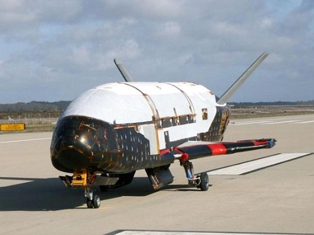 The X-37B Orbital Test Vehicle, a military space plane, taxis at Vendenberg AFB, Californ