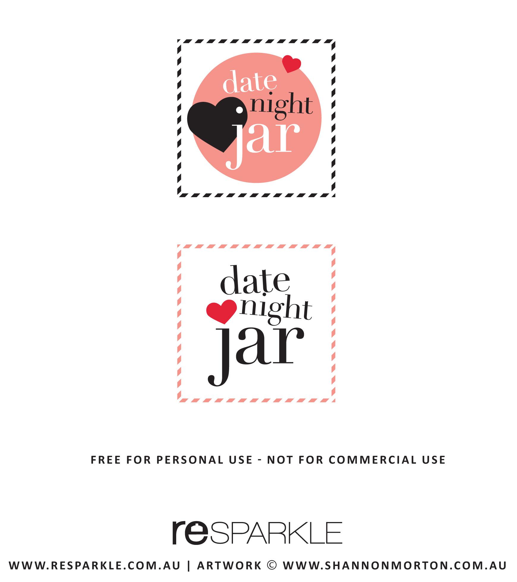 image regarding Date Night Jar Printable identify Calmly Sale Printable Day Jar Day Evening Day Evening Jar