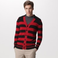 Black & Red Striped Cardigan