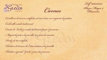 Carta Gredos Menu carnes 2