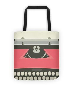 Red typewriter allover tote on white