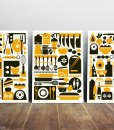 Kitchen art print set from three yellow-black