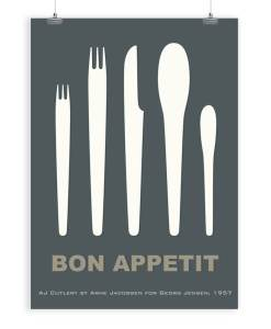 Cutlery by Arne Jacobsen art print dark