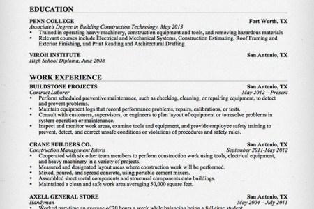 laborer resume entry level