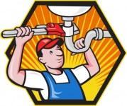 plumber under sink by vectorolie