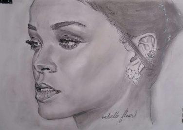 Rihanna, retrato a lápiz, autor: Jose Manuel Gallego Garcia, todos los derechos reservados, visita retratarte.org