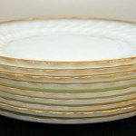 These vintage shell dinner plates were produced by Anchor Hocking in the pattern Suburbia between 1956 & 1976.