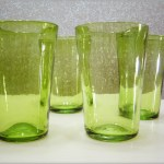 Set of four Colonial Williamsburg #CW30 Blenko Art Glass flip tumblers.