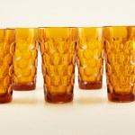 Set of six beautiful deep honey amber tumbler set.