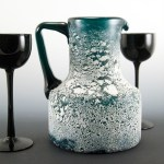 Full-size Scavo art glass beverage pitcher hand-blown by a master of the craft.