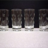 A set of four Anchor Hocking cubist cut tumblers, pattern #J3616. Circa 1960's.