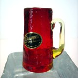Ruby crackle shot glass is made by Kanawha Art Glass, pattern #158 Benedictine.
