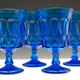 Vintage retro glass goblet set made in Japan during the 1970's to early 1980's. Offering as a set of 6.