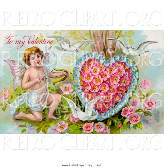 Fashioned Vintage Valentine Of Three White Doves Flying Around Cupid . 1024 x 1044.Free Valentine Heart Images Cupid