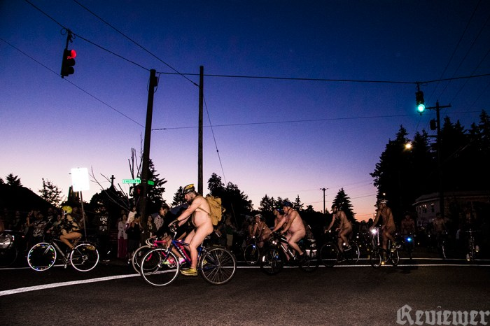 Making the first big corner at the World Naked Bike Ride in Portland, 2016. Photo by Reviewer TV. Click the pic for the video.