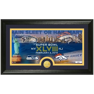 denver broncos super bowl plaque, seattle seahawks super bowl plaque, 2014 superbowl plaque, broncos seahawks superbowl photomint plaque
