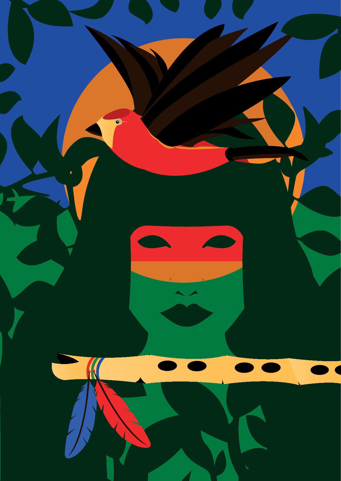 O uirapuru em ilustração do designer curitibano Nathan Edermann