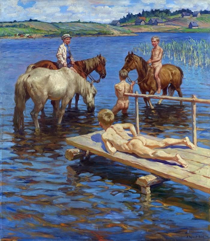 N. Bogdanovitch-Belski, Banho de cavalos, 1939.