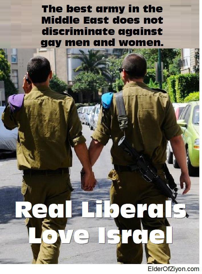 """Propaganda do exército israelense: """"O melhor exército do Oriente Médio não discrimina homens e mulheres homossexuais – Liberais de verdade amam Israel"""""""