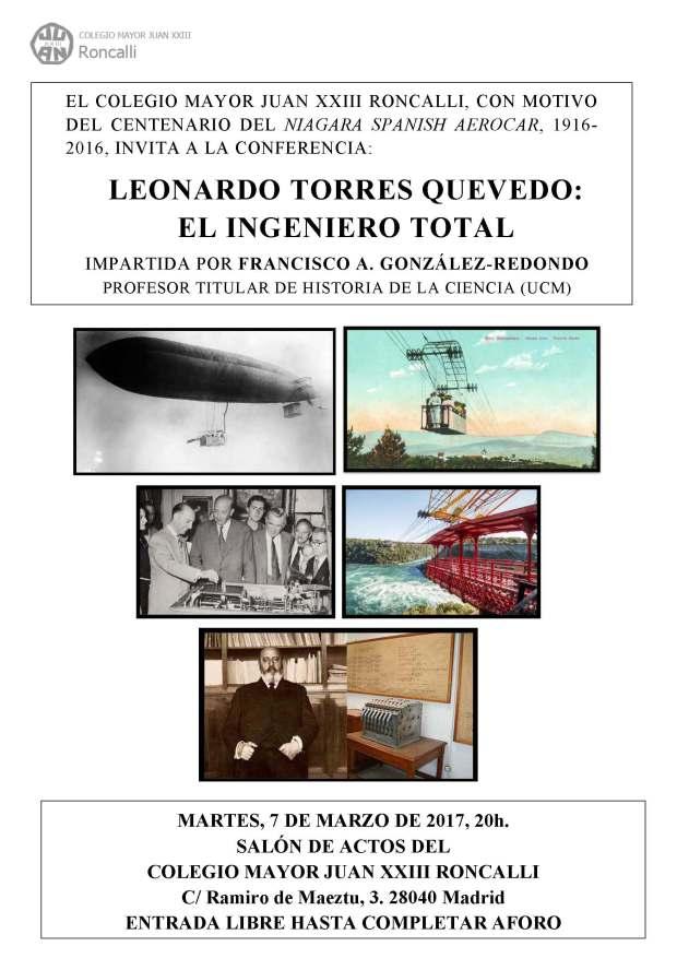 Cartel Conferencia Torres Quevedo 7.3.2017