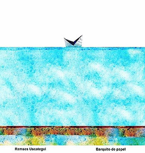 """Título: """"Barquito de papel"""" Autor: Ramses Uscategui Cabrera Técnica: Collage digital País: Colombia"""