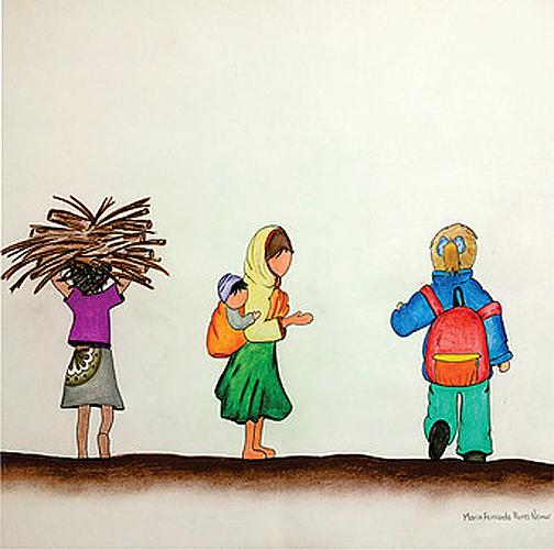 """Título: """"Con ojos de niña"""" Autor: María Fernanda Flores Namur Técnica: Dibujo/ Lápiz a color País: México"""