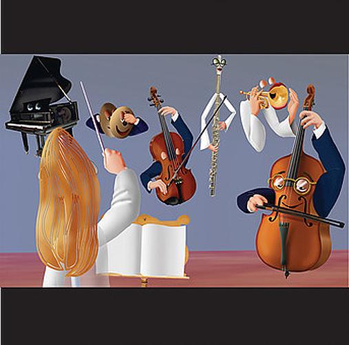 """Título: """"Instrumentos musicales"""" Autor: Jorge Álvarez Hernández Técnica: Ilustración Digital, softwares 2D y 3D País: México"""