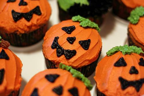 Cupcakes para Halloween con calabazas