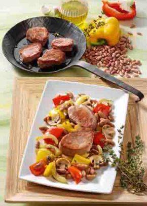 Bohnenpfanne mit Schweinefilet (für Diabetiker) Foto: Wirths PR