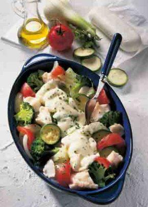 Gemüse-Fisch-Auflauf mit Käse (für Diabetiker) Foto: Wirths PR
