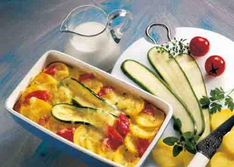 Kartoffelgerichte: Kartoffel-Zucchini-Auflauf Foto: Wirths PR
