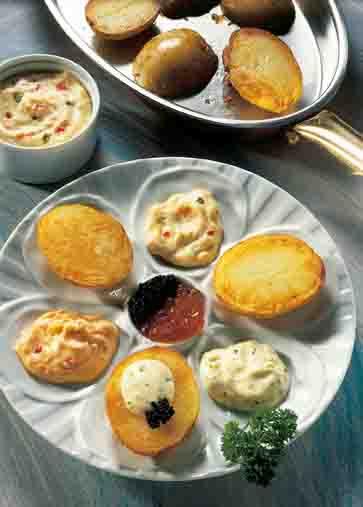 Kartoffelgerichte: Gourmet-Kartoffeln mit Dips Foto: Wirths PR