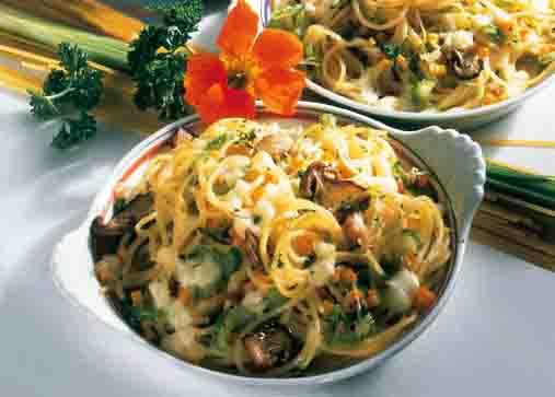 Spaghettigratin mit Pilzen Foto: Wirths PR/Zott
