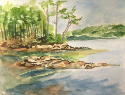 Visiting Parents: First Watercolor on the Maine Coast