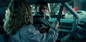 Kyle Reese and Sarah Connor in the parking lot chase scene.