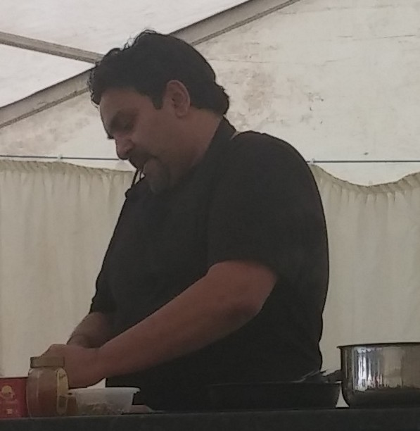 Raz doing cookery demo at Woollaton Park