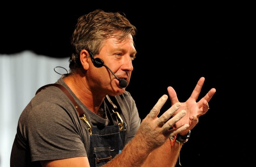 The 10th annual Bolton Food and Drink Festival, Victoria Square, Bolton, Lancashire. Masterchef's John Torode during his cookery demonstration. Picture by Paul Heyes, Sunday August 30, 2015.
