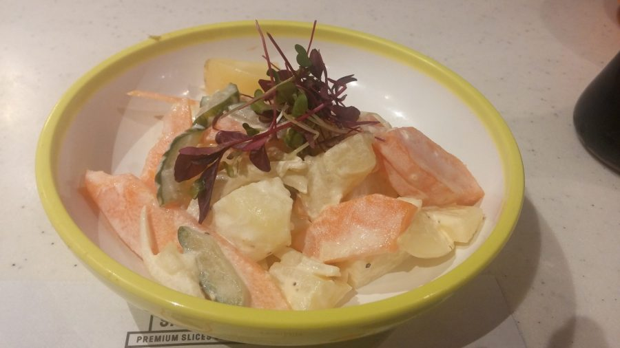 potato, quick pickled vegetables, karashi mustard mayonnaise dressing