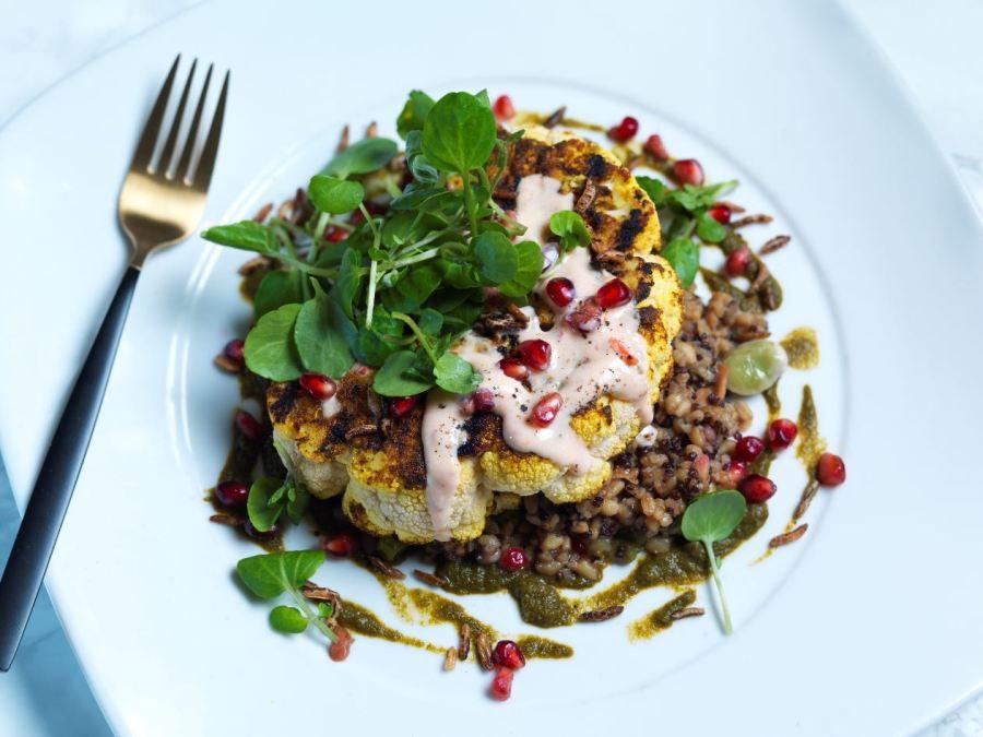 cauli steak, vegan brunch