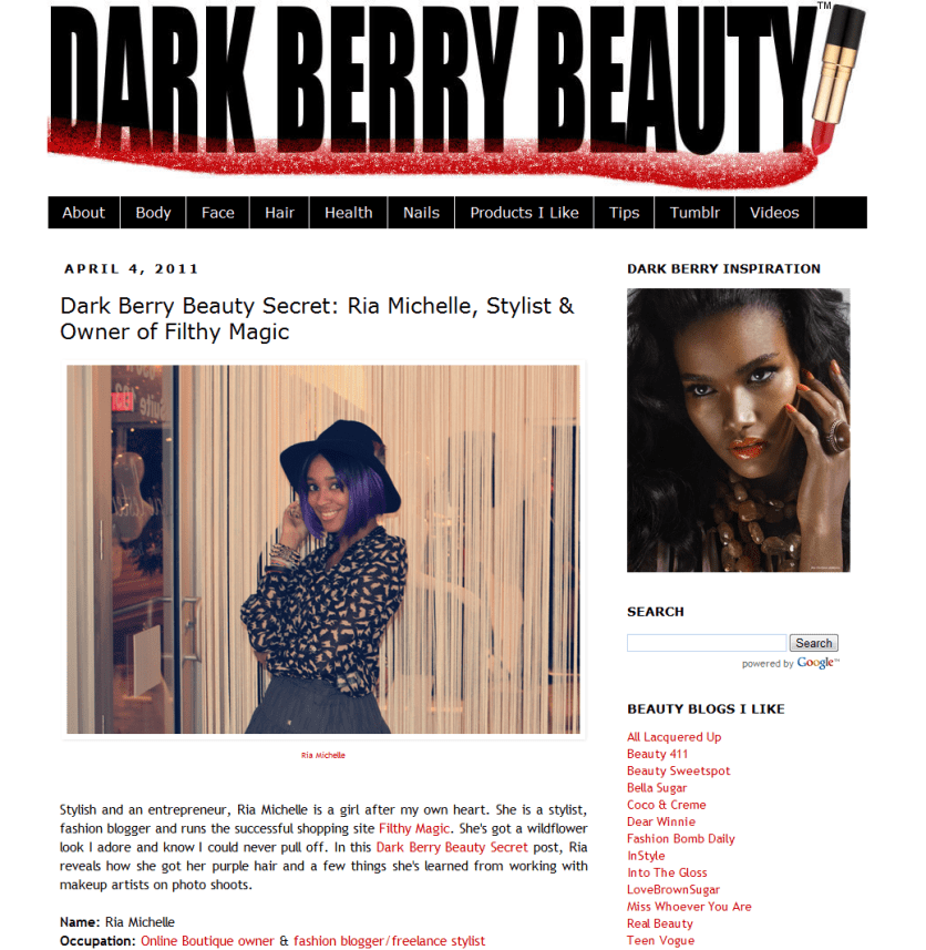Dark Berry Beauty Interview on My Beauty Regiment