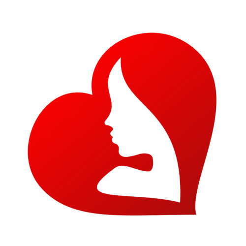 44180284 - woman face silhouette inside of a heart shape isolated on white background