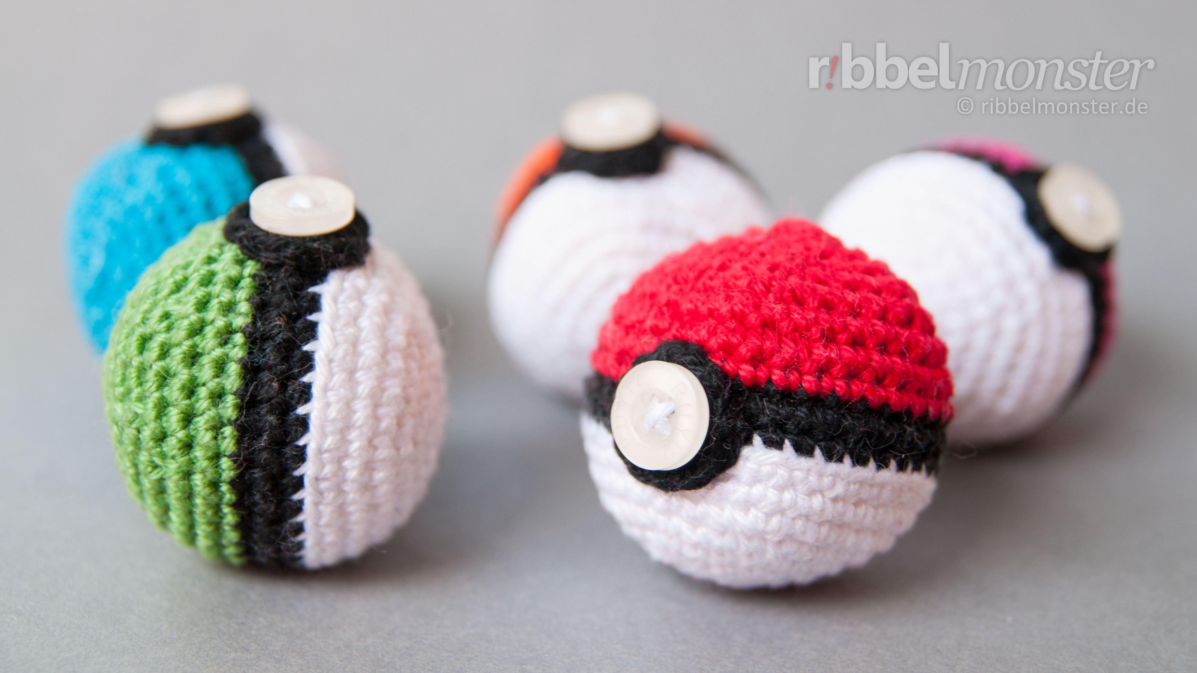 Amigurumi - Pokéball häkeln - Pokémon Ball - kostenlose