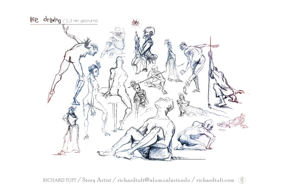 Life drawing, 1-3 minute sketches. 01. (c) Richard Tuft