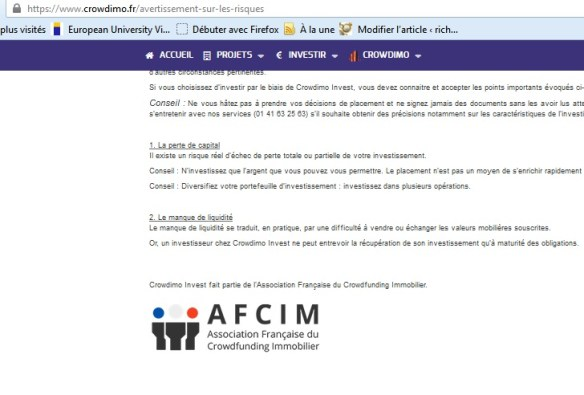 crowdimo test and notice real estate investment new platform Member AFCIM