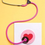 Pink stethoscope with heart