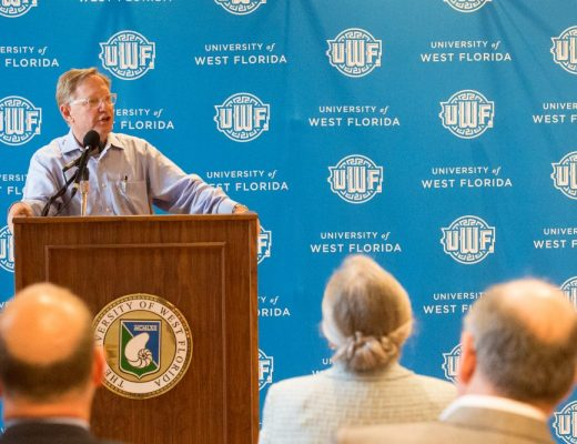 """Quint Studer speaks about the partnership with The University of West Florida announcing the """"University of West Florida's Center for Entrepreneurship"""" during an event at the Voices of Pensacola Thursday, July 2, 2015. (Michael Spooneybarger/ Pensacola Today)"""