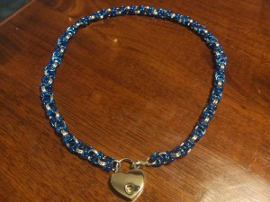 petite blue and silver byzantine chain